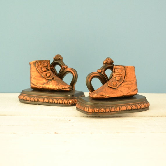 Bronze Baby Shoe - Bronzed Bookends - Baby Booty - Vintage Nursery Decor - New Baby