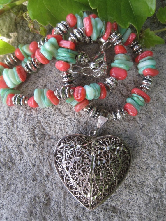 Vintage Silver HeART Pendant Necklace with Coral and Green Dyed Heishi Shells  - FREE SHIPPING
