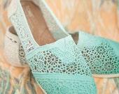 Custom Crochet Seafoam Ombre TOMS Shoes