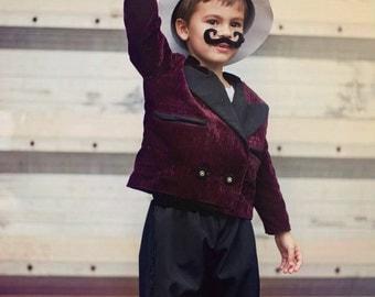 TMD: boys velvet crop Tuxedo set. Whimsical, photo prop, circus party, fantasy. MADE to ORDER.