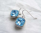 Mother's Day Gift ~ March Birthday ~ Swarovski Aquamarine Earrings ~ Sterling Silver Ear Wire ~ Gift for Her ~ Cushion Cut Stone