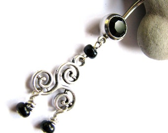 Beaded Dangle Belly Button Ring - Geometric Swirls Silver and Black Navel Piercing Jewelry Belly Button Jewelry Belly Rings Bellybutton Ring