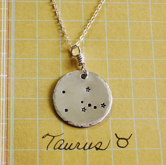 Taurus Constellation Zodiac Necklace. Sterling Silver By