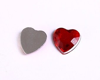 Dollar Sale Clearance - 10 red faceted resin heart cab cabochon with Silver Foil 8mm 10pcs (964)