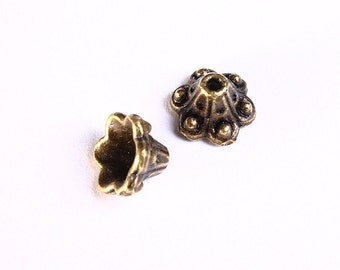 10mm antique brass bead caps - antique bronze cone beadcaps - End caps - Nickel free - Lead free (979) - Flat rate shipping