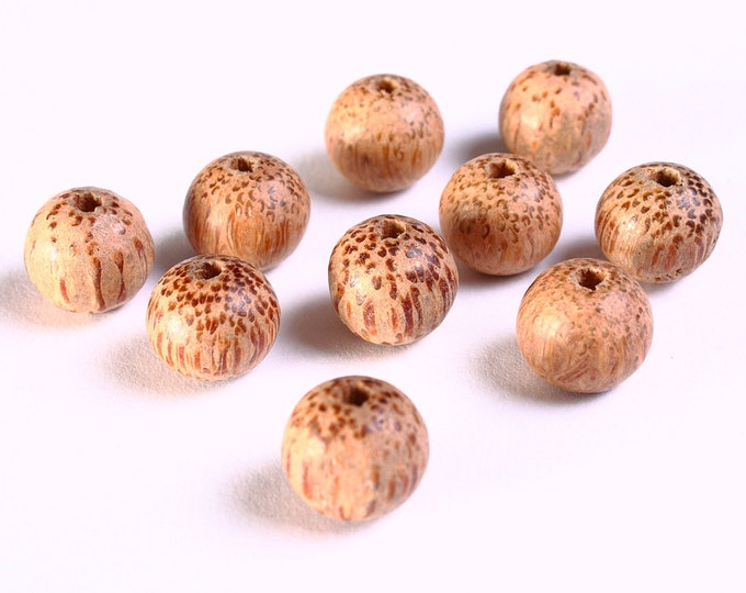 10 Handmade brown round wood beads 10mm 10pcs (1081) - Flat rate shipping