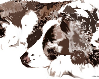 Customized English Springer Spaniel Digital Painting