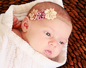 Natural Newborn Flower Headband - Baby Girl Mini Flower Hair Bow - Beige, Mauve & Tan Satin Flower Newborn Photo Prop Headband