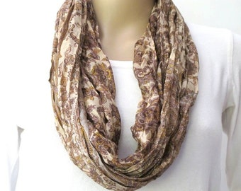 Beige Scarf, Silk scarf, Infinity Scarf