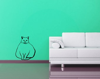 Fat Cat wall decal, chubby feline wall decor