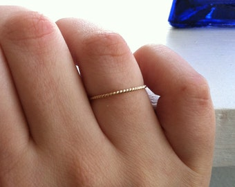 Rope Textured 14k Gold Fill Stacking Ring Thin Band  - custom made to order