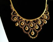 Ethnic Inspired Gold Tone and Amber Brown Rhinestone Bib Necklace- Elegant Indian Funky Brown Bling