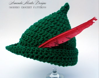 INSTANT Download - Elf / Peter Pan / Robin Hood Hat CROCHET PATTERN - Pdf File - 6 Sizes included - Permission to sell finished item