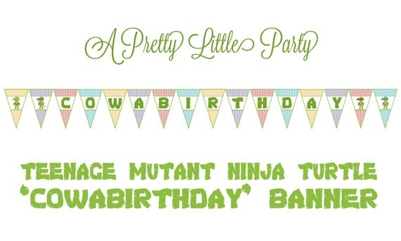 TMNT Birthday Banner - Teenage Mutant Ninja Turtles - Ninja - Party Supplies - INSTANT DOWNLOAD