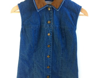 SALE Vintage Denim Vest. Denim Button up Vest with Brown Suede Collar and Back Tie FREE SHIPPING (Dom.usa)