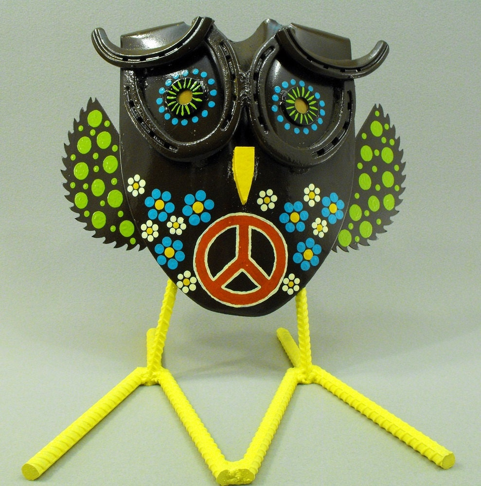 Peace Owl Yard Art Folk Art Metal By Ouruniqueperspective