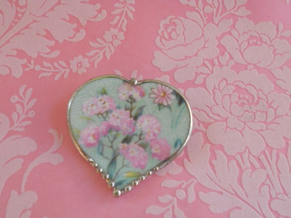 Vintage Heart Pendant Brooch Pink Hydrangeas Porcelain Pin Unique Valentines Jewelry