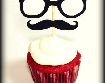 Cupcake Toppers -12 Glasses and Mustache-Little Man Party- Mustache Party- Cupcake decorations- Hipster Cupcake Toppers- Glasses on a stick