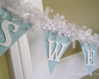 Aqua and White Glitter Baby Shower Decorations || Sweet Baby Banner || Pom Pom NAME Banner ||-