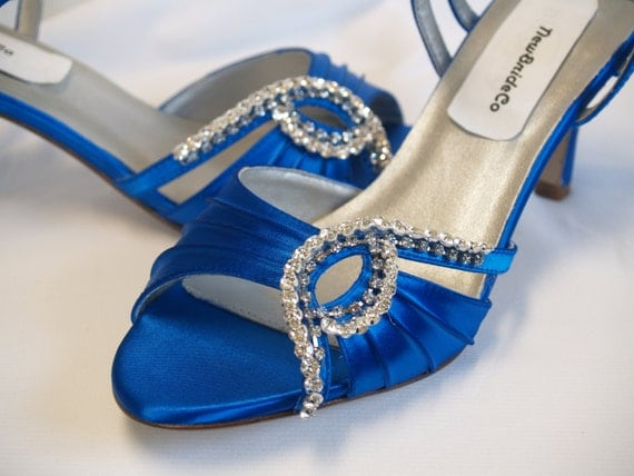 Ready to Ship Size 7 Something Blue Wedding Shoes, Royal Blue Open Toe Satin Shoes, Crystals & 2.5 inch heels, ankle strap, stiletto heel