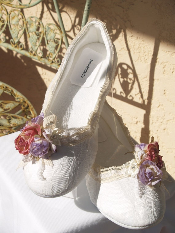 Items Similar To Rustic Wedding Flat Shoes Burlap Flowers And Lace Outdoor Garden Country