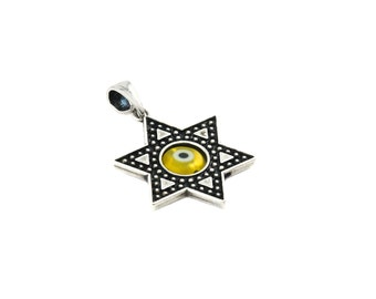 Free Domestic Shipping Sterling Silver Yellow Evil Eye Star of David Pendant Protection, Religious, Filigree, Star of David, Jewish, Charm