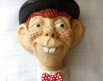 Mortimer Snerd Chalkware Head, Mortimer Snerd Ventriloquist Dummy Wall Hanging, Mortimer Snerd Head
