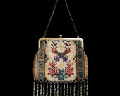 Antique Edwardian Glass Beadwork Purse, Evening Bag, English Garden, Jane Austen, Reenactment, Collector, Romantic, Gift for Her, Love Token