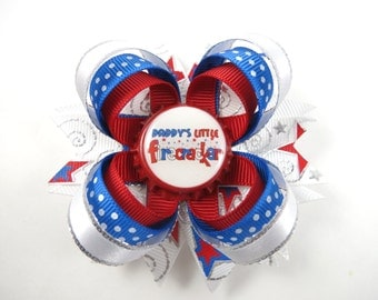 4th of July Hair Bow - Red White Blue - Red Blue White Hair Bow - Toddler Hair Bow - Infant Hair Bow - Mommy - Daddy