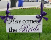 Here comes the Bride sign, Wedding Signage, Purple, Wedding Photo prop