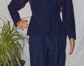Navy Blue Outfit 2 piece Pant Suit Pants Set Vintage 1990s size S - Small - Matching Pants and Top