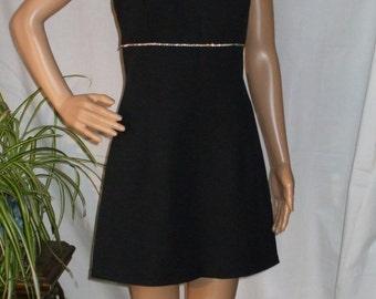 Black Cocktail Dress Empire Waist Rhinestone Band Dressy Little Black Dress Womens Vintage Clothing 1960s size 9 - S or M
