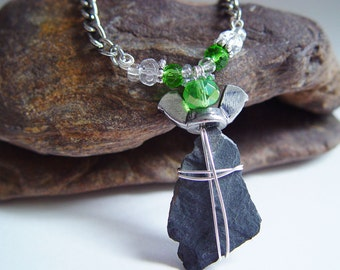 Kelly Green and Silver Wire Wrapped Slate Wing Nut Angel Necklace