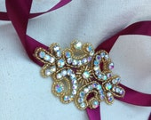 Burgundy and Gold Beaded Rhinestone Ribbon Headband