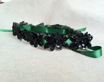 Emerald Green and Black Sequin Floral Ribbon Headband