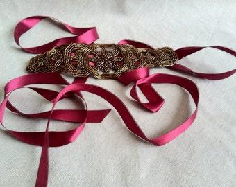 Burgundy and Bronze Beaded Ribbon Headband