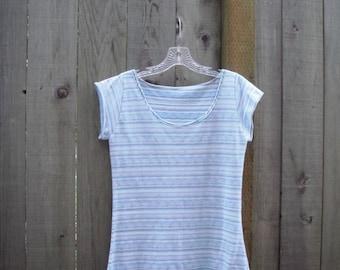 Eco T Shirt/  Stretch Knit Tee Shirt/ Retro Shirts Pale Blue White Stripes