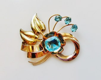 Vintage Art Moderne pin, gold filled 1940's Iskin pin with aqua stones