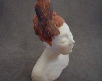 """Woman with Bird on Head, """"Pensive"""" White Rust Female Starling"""