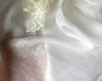 Sheer Gauze Linen--White Thin Transparent Linen Fabric--Thin Linen Tissue--DIY projects--Wholesale Available