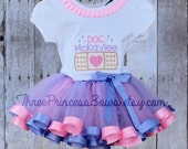 Doc McStuffin Ribbon Trim Tutu Embroidered Shirt Bow Complete Outfit
