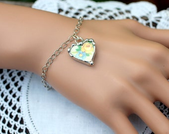 Bracelet, Broken China Jewelry, Broken China Bracelet, Blue Flower and Yellow Rose China, Sterling Silver Bracelet