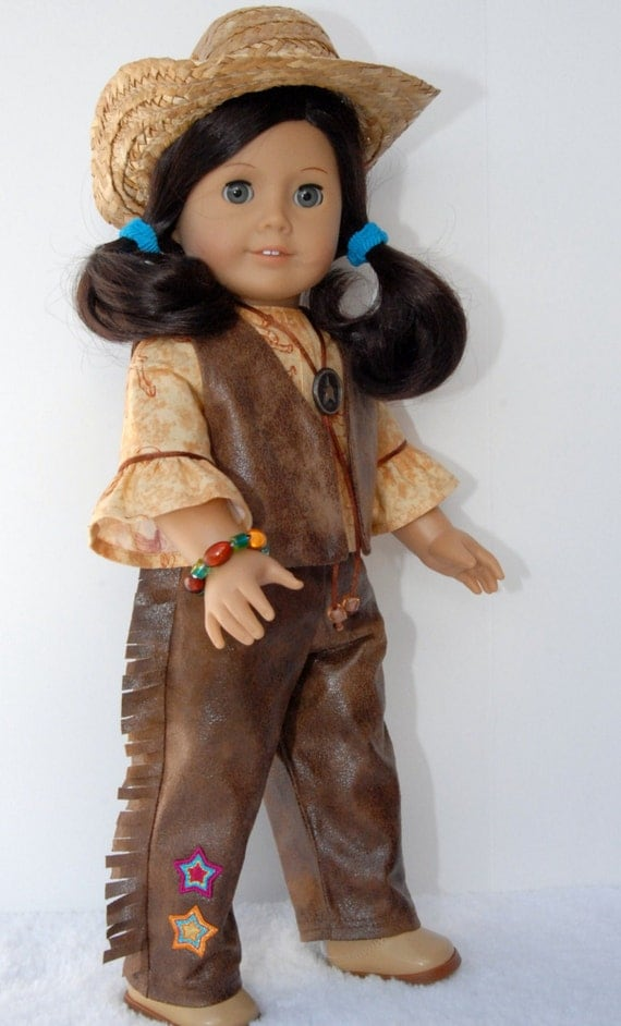 American Girl 18 Inch Doll Clothes Leather Fringe Pants Chaps