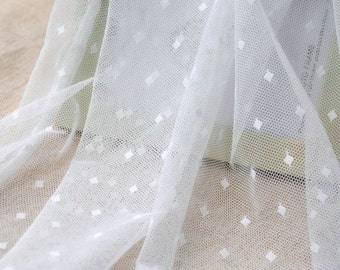 1 Yard Lace Fabric,Embroidery,Wedding,Bridal,White Color, diamond pattern,Cotton stretch (W51)