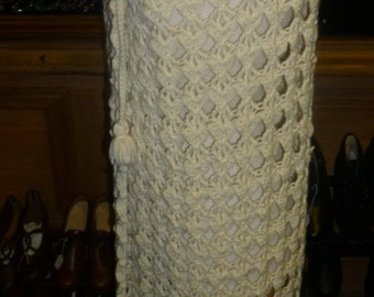 cape with hood vintage circa 1970's hand made crochet maxi length cloak in creme.