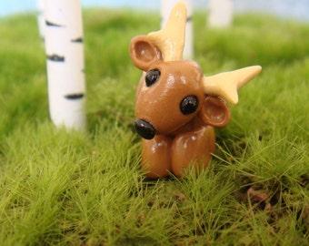 Miniature Clay Deer- polymer clay, antlers
