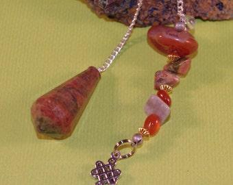 Dowsing Pendulum Unakite Celtic Knot New Age Magick, Pagan, Witchy 135781P