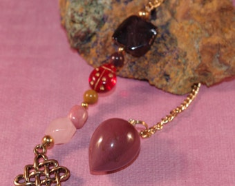 Dowsing Pendulum Mook Jasper Celtic Knot New Age Divination OOAK Magick Gemstone Witchy Pagan Wicca 113973P