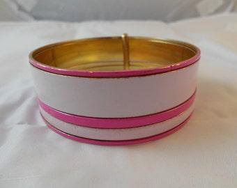 Vintage Pink Metal Bangle Bracelet