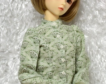 Long-sleeve print blouse in sage green for Super Dollfie